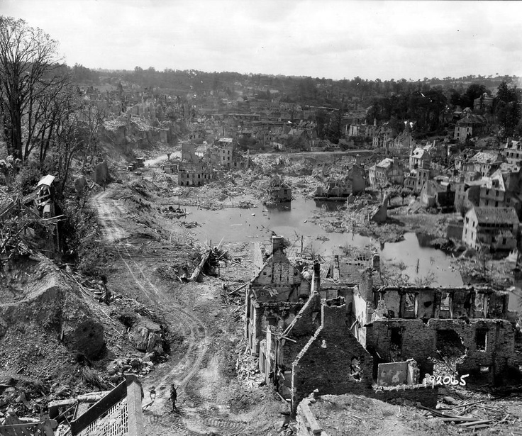 View of St Lô, Normandy upon liberation, 1944