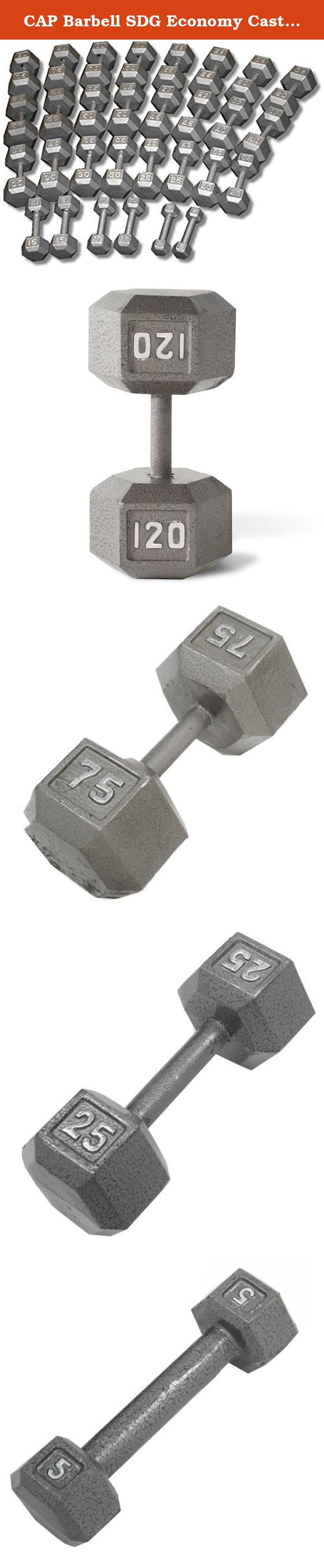 CAP Barbell SDG Economy Cast Iron Hex Dumbbell Set - 5 to 120 lbs (24 pairs) - Full Home Gym Weight Set. Economy Cast Iron Hex Dumbbell Sets from CAP Barbell - Hex dumbbell sets are often the perfect dumbbell choice for home gym and garage gym use. They are economical and space efficient and for a lot of people that is the most important criteria when purchasing dumbbells for home use. Hexagonal dumbbell heads are non-rolling when set down on the floor or racks. Cast iron heads increase…