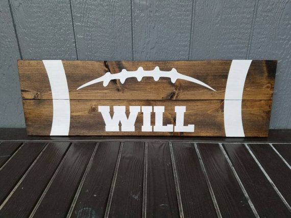 Personlized Football Sign Large Football Sign Over The bed football sign football plank sign boys football bedroom décor boys room décor sports room décor boys sports décor football player gift football gift boys football gift rustic football sign  by MemorEase