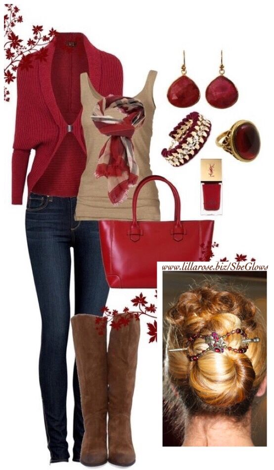 Russet reds and browns create a lovely fall/winter outfit. And the ruby bouquet flexi is a perfect match!