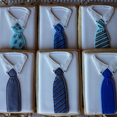 Father's Day Shirt & Tie Cookies - via Facebook / @FireflyConfections
