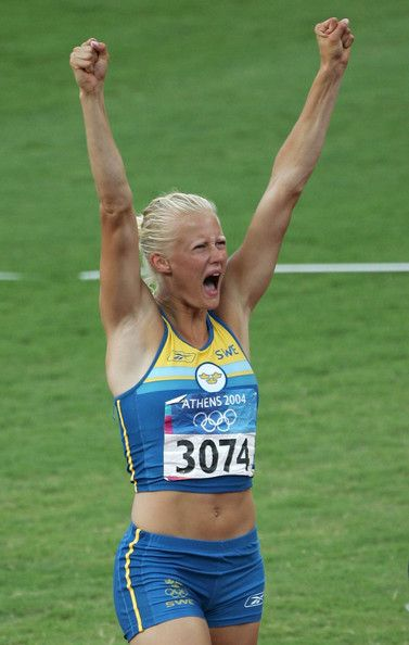 Carolina Kluft Photos - Carolina Kluft of Sweden celebrates her throw during the…