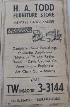 H. A. Todd Furniture Store Ad 1956 Telephone Book