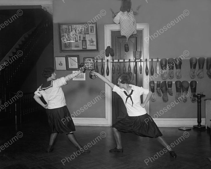 Girls Spar In Fencing Match 1900s 8x10 Reprint Of Old Photo