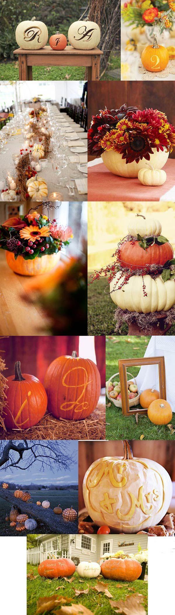 Zucche per il matrimonio autunnale #halloween #fall #wedding http://paperproject.it/lifestyle/zucchero-e-confetti/matrimoni-autunno-inspirational-board/