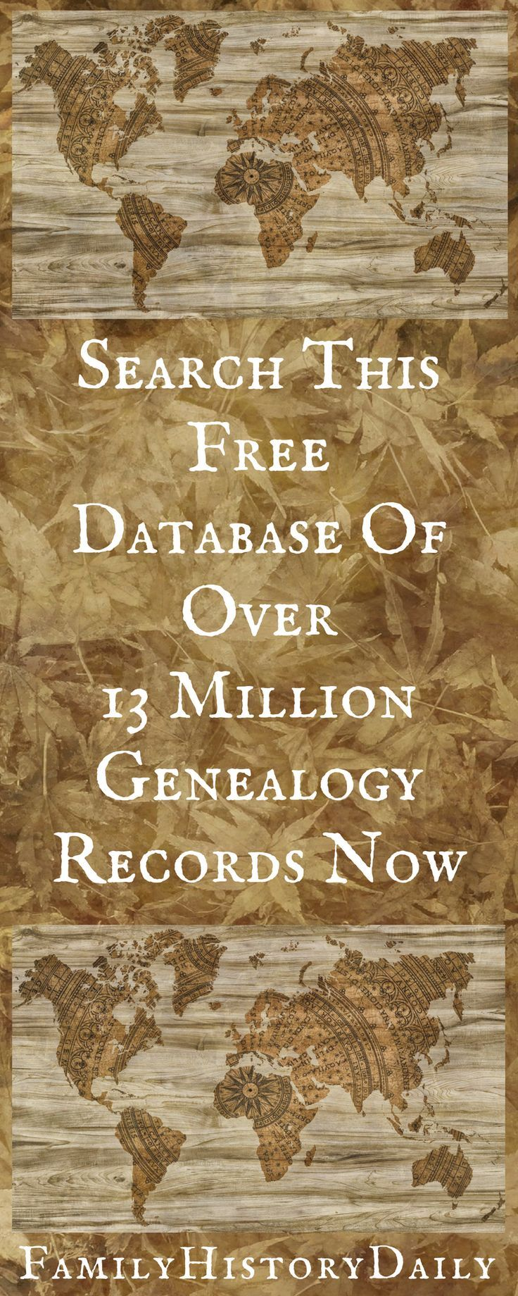 Search this database of over 13 million free genealogy records and learn more about your family history.