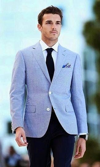 Men's Light Blue Blazer, White Dress Shirt, Navy Dress Pants, Black Tie