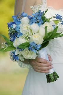 Blue and White Bouquet #wedding #flowers