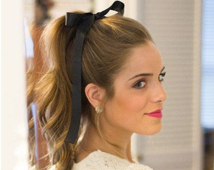 coafuri de vara simple top hair bow navy flirty preppy