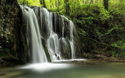 Scarica sfondi lago, cascata, foresta, la natura, verdi