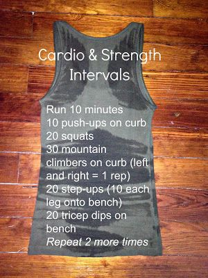 Cardio Strength Intervals for outside or inside / no equipment needed