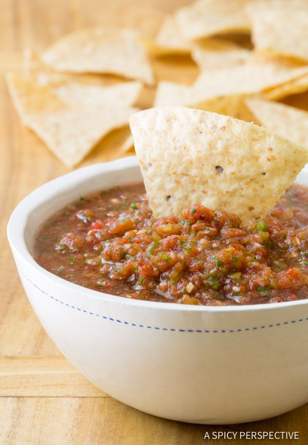 Secrets of making the Best Homemade Salsa Recipe! This restaurant style salsa recipe is loaded with flavor, has an amazing texture, and a secret ingredient.