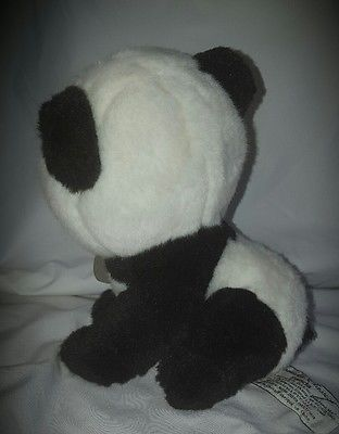 Yomiko Classics Panda Bear Plush Russ Black White Leather Tag Stuffed Animal 7""