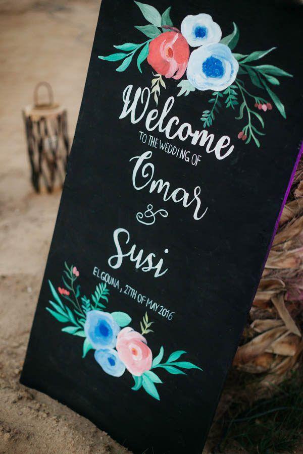 Elegant chalkboard wedding welcome sign.