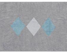 Dywan szary z białymi i niebieskimi rombami