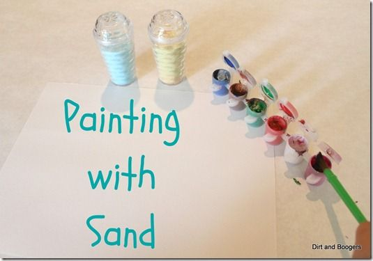 painting with sand. I love this...it adds a nice texture when it driesSensory Play