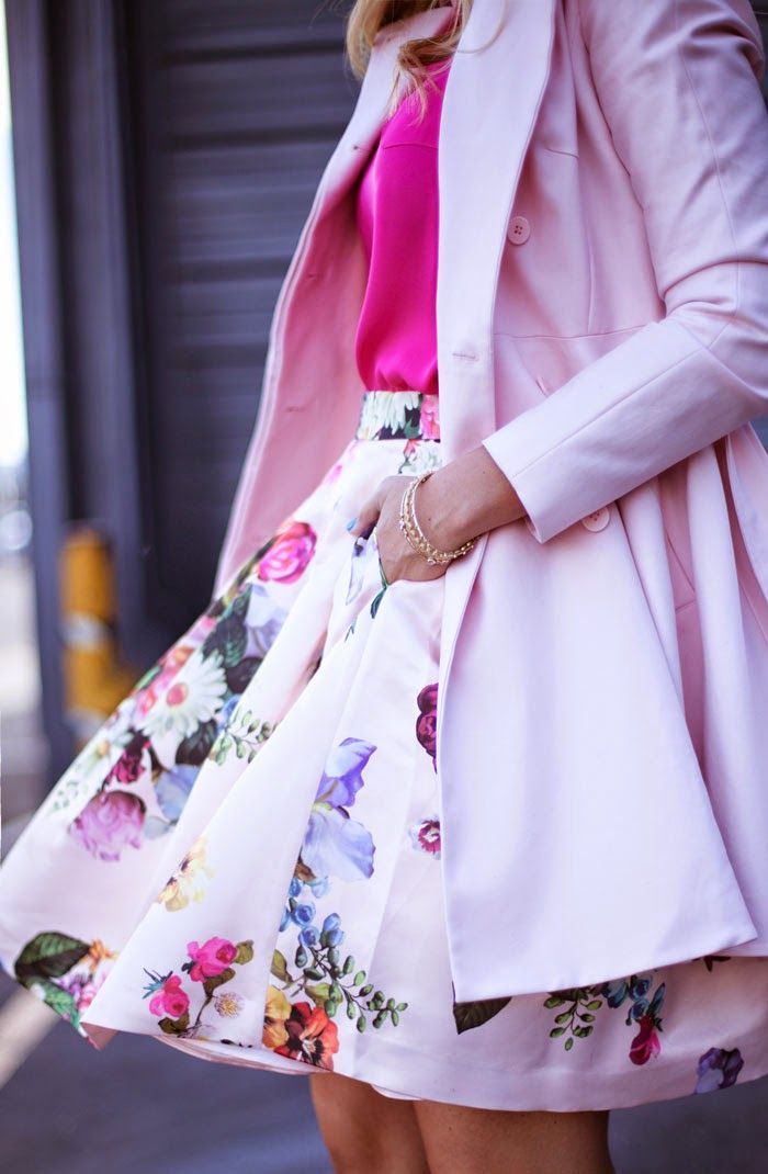 Feminine Cute Outfit. Love how summery it is with the pinks and florals.