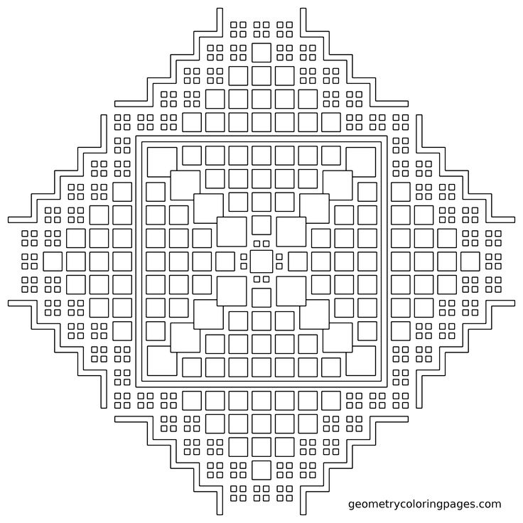 geometry coloring page tile fractal