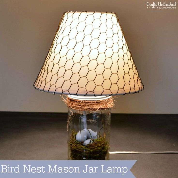 DIY Lamp: Bird Nest Mason Jar Lamp Tutorial from @ConsumerCrafts.com