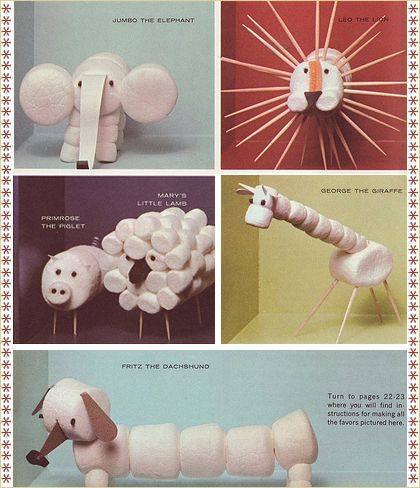 Marshmallow animal craft. Cayden would love this! He just might eat all the marshmallows before he gets an animal made.