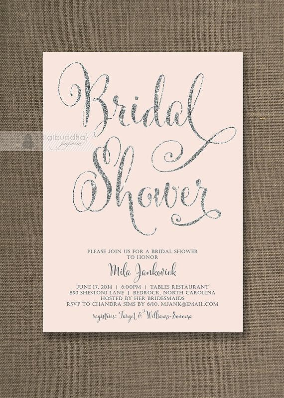 Blush Pink & Silver Glitter Bridal Shower Invitation Pastel Pink Wedding Hens Party Script Modern Printable Digital or Printed - Mila Style