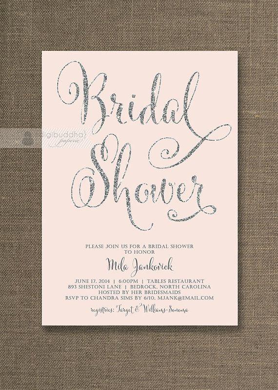 Blush Pink & Silver Glitter Bridal Shower Invitations in Silver Gray Script Available at digibuddha.com