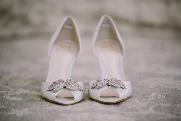 White Satin Wedding Shoes by Jenny Packham for Debenhams. Bride: Janine in Capetown, South Africa