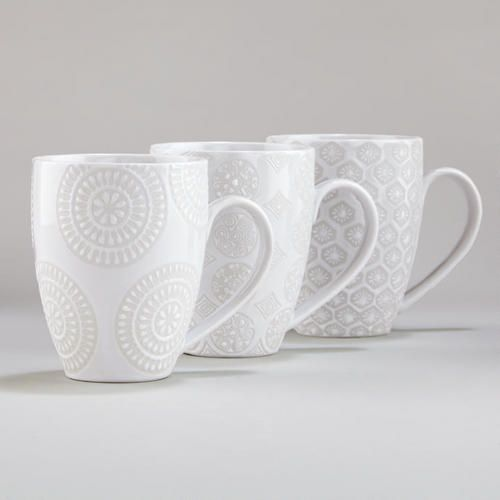 I WANT THESE!! One of my favorite discoveries at WorldMarket.com: White Wax Resist Mugs, Set of 6