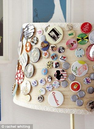 """A lampshade becomes the perfect place to showcase a collection of badges"" one of the ideas in my new book Creative Family Home - photography Rachel Whiting - published by Ryland Peters & Small http://www.creativefamilyhome.com"