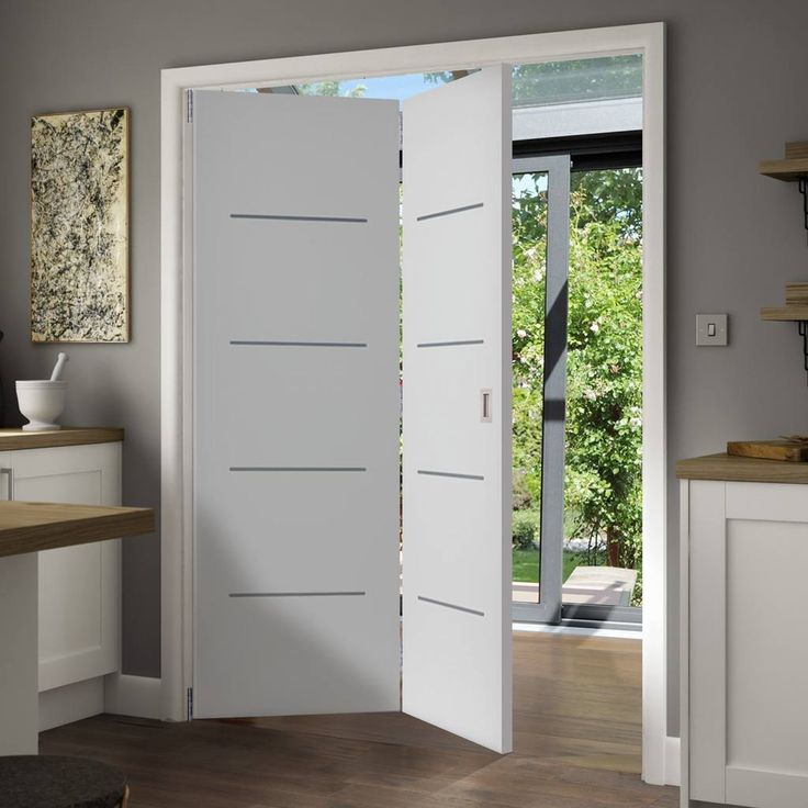 Thrufold Eco Blanco Satin White 2+0 Folding Door - Prefinished. #flushdoor #bifolddoors #moderndoor #interiordoors #foldingdoors #roomfold #thrufold