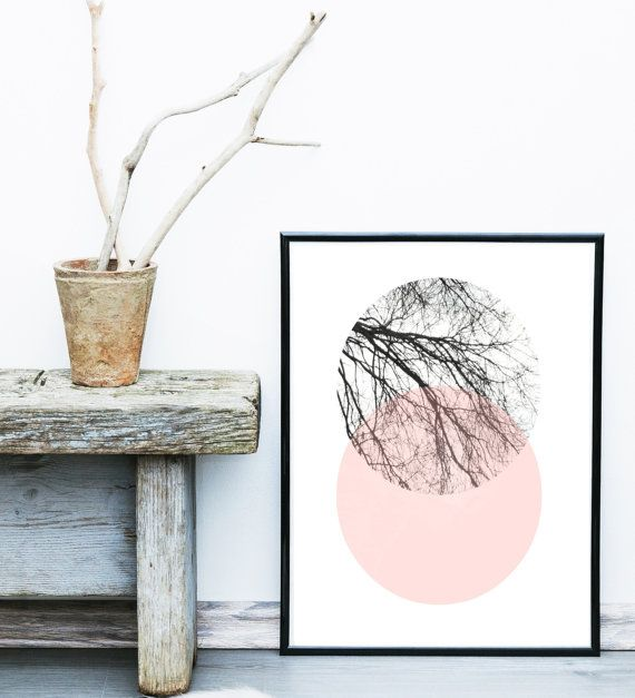 Scandinavian Art, Abstract Art Print, Art Print, Circle Print, Pink And Grey Decor, Giclee print, Wall Art, Poster, Wall Decor