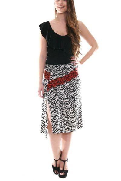 conDiva Mixed Print Gathered Tango Skirt with Slits. Ideal for milonga.  #tangoskirt #milongaskirt #tangooutfit #milongaoutfit