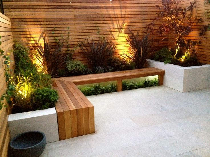 lighting, bench, planters patio