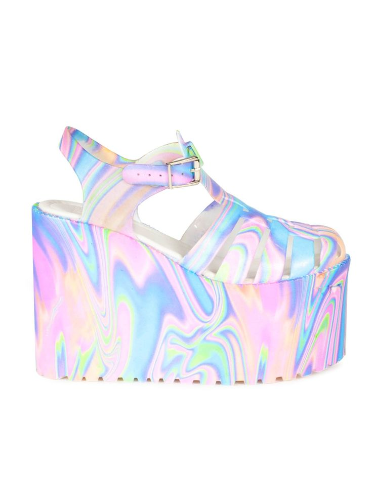 These are just so awesome! HELLA JELLY TYE-DYE PLATFORMS - http://unifclothing.com/hella-jelly-platforms-tie-dye