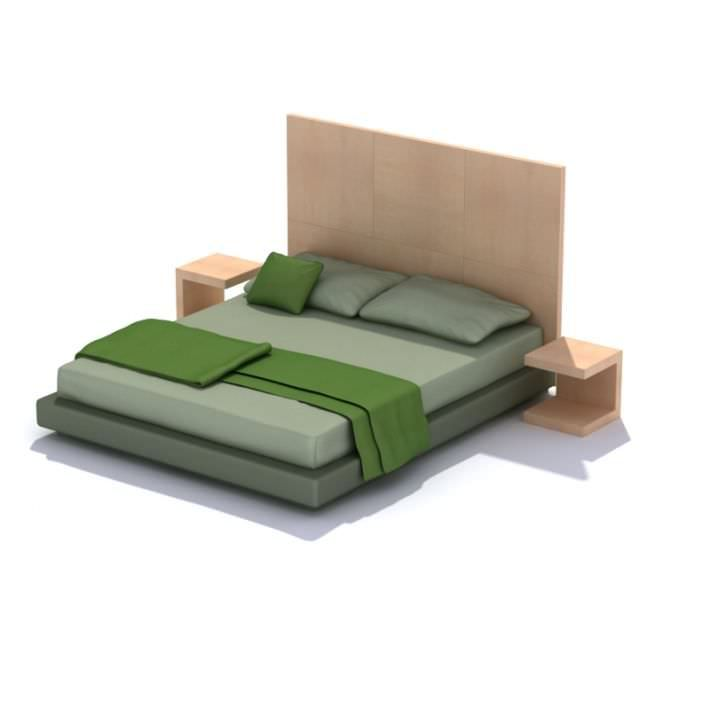 Modern Green Bed Set With Wooden Frame And End Caps By Evermotion