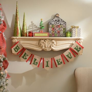 Add a magical touch to your home with our Believe Burlap Banner! #Kirklands #CozyChristmas #holidaydecor