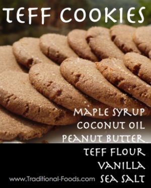This is actually the recipe off of the side of the bobs red mill teff flour bag. I made it this week and i have a new favorite grain- teff! I added chocolate chips because really... what better than chocolate and peanut butter