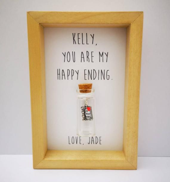 Romantic boyfriend gift, Real wood frame, Book themed gifts, Add your names
