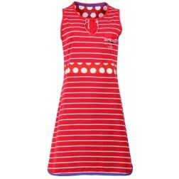 - Strange Effect - Horizontale strepen op rood dames nachthemd