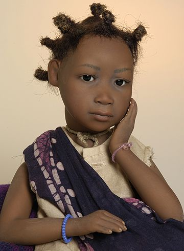 Ayda - little girl from Ethiopia, Art Doll by Amy van Boxel