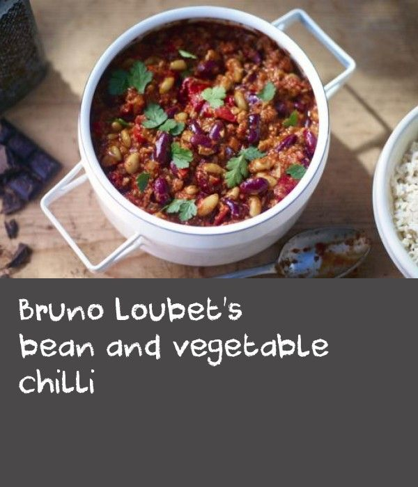 Bruno Loubet's bean and vegetable chilli |      The list of ingredients here may look long and daunting but I promise you, the recipe is very simple – a one-pot wonder. This recipe was kindly given to me by a great chef – Bruno Loubet – who worked with me for many years. Risking Bruno's wrath, I made a few changes to the recipe. I hope he will forgive my boldness and see the wisdom of an older man. This meal, when served as eight portions, provides 359kcal, 9g protein, 46g carbohydrate	(of…