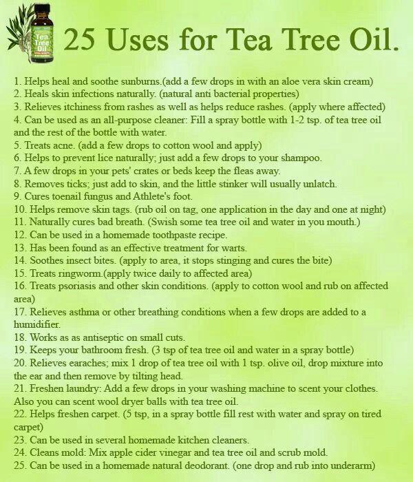 25 USES FOR TEA TREE OIL 6adf9b2ef86614d3222b3c3822a99a88.jpg (600×700)