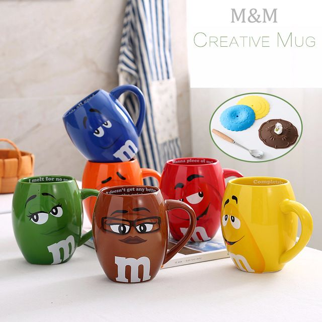 Creative M&M's MM Beans Drinking Cups Ceramic Colored Cafe