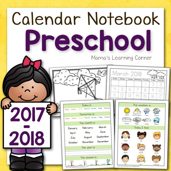 Practice the days of the weeks, months of the year, weather, shapes, colors, feelings & emotions and more with this Preschool Calendar Notebook for 2017-18!