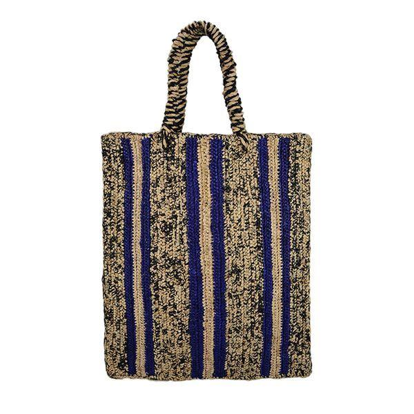 Striped woven raffia tote bag