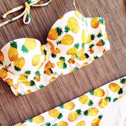 Pineapple swimsuit, we love fun summer prints! :: Pineapple Bikini:: Retro Summer Patterns #love <3