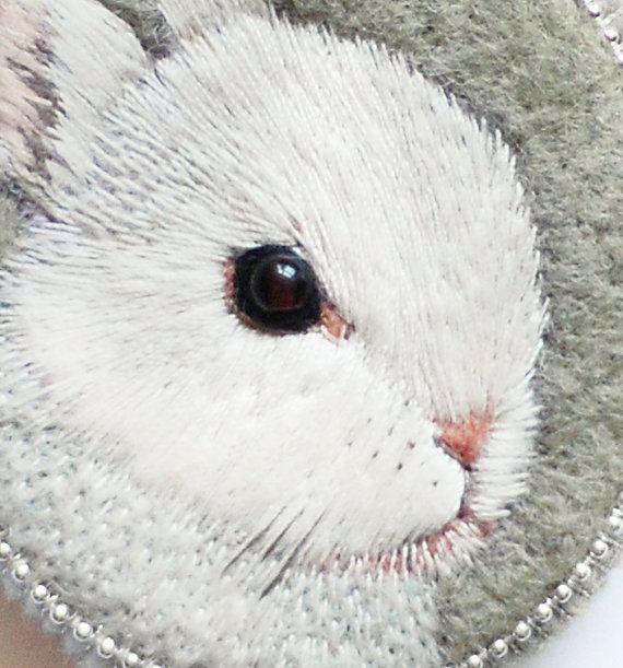 Little bunny . brooch . handmade . felt . needle felted by cOnieco