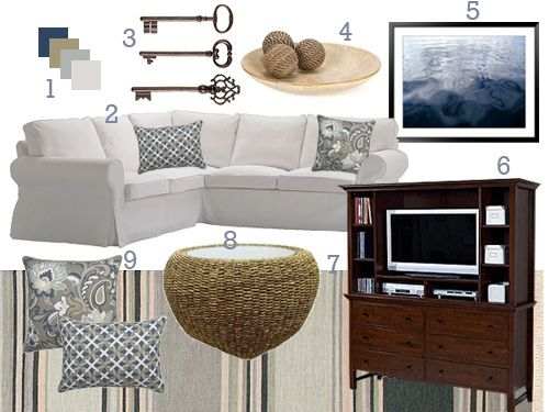 Cool Blue Living Room Mood Board