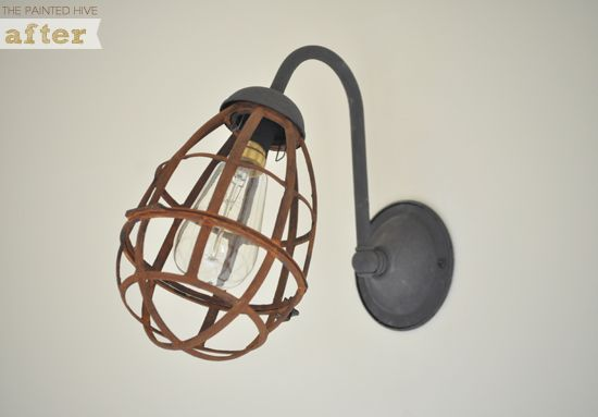 The Painted Hive DIY: Lights Fixtures, Diy Sconces, Paintings Hives, Wall Sconces, Lights Makeovers, Sconces Makeovers, Cages Lights, Industrial Sconces, Diy Projects