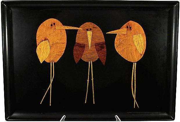 Couroc of Monterey birds tray. Chicks with attitude. DIY from wood veneer? Or decoupaged onto canvas from paper or some other collage material?